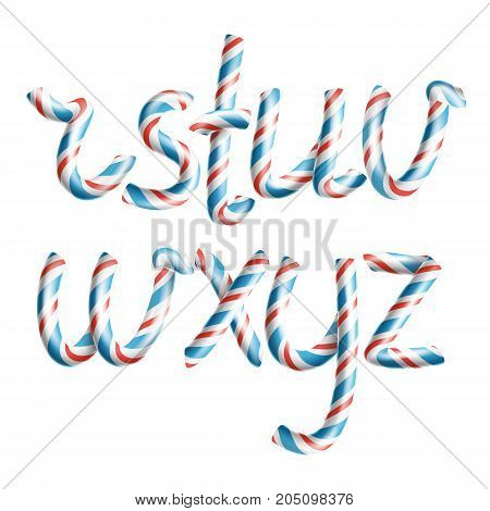 Letters R, S, T, U, V, W, X, Y, Z. Vector. 3D Realistic Candy Cane Alphabet Symbol In Christmas Colour New Year Letter Textured With Red, Blue. Typography Craft Isolated Object. Xmas Art