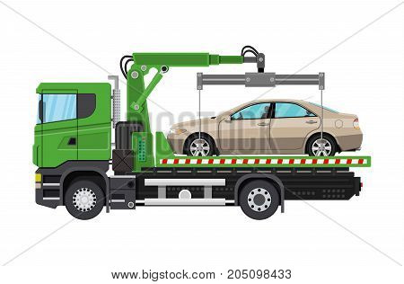 Tow truck. City road side assistance service. Evacuator car vehicle. Vector illustration in flat style