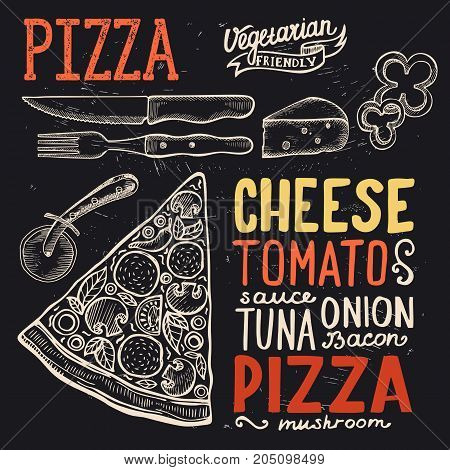 Pizza food menu for restaurant and cafe. Design template with hand-drawn graphic illustrations.