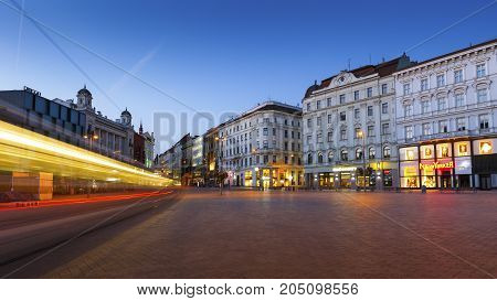 BRNO, CZECH REPUBLIC - AUGUST 24, 2017: Square in the old town of Brno, Czech Republic on August 24, 2017.