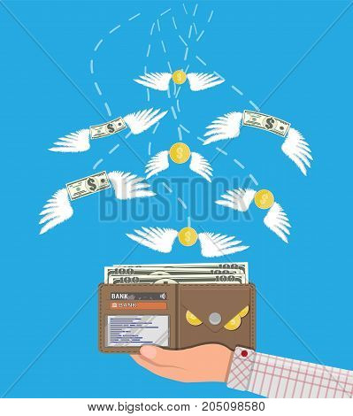 Dollars and coins with wings flying in hand with wallet. Prize, money payroll, income, savings, investment. Vector illustration in flat style
