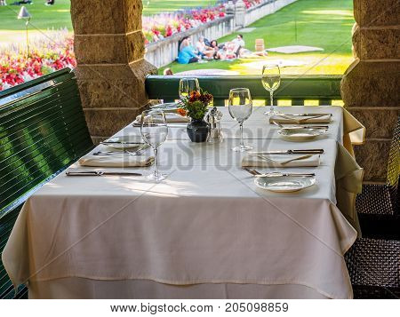 Table set with silverware in a restaurant