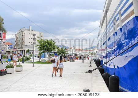 SPLIT, CROATIA - 13 JULY, 2017: Cruise liner in the port of Split Croatia.
