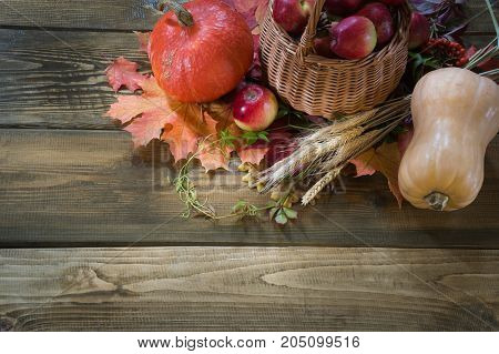 Autumn harvest, pumpkin, apples in basket, colorful autumn leaves on wooden board. Fall, copy space. Top view.