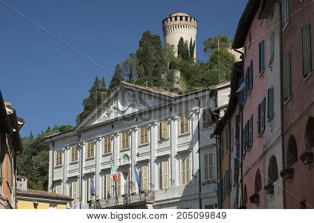 Brisighella (Ravenna Emilia Romagna Italy): historic buildings in the Guglielmo Marconi square