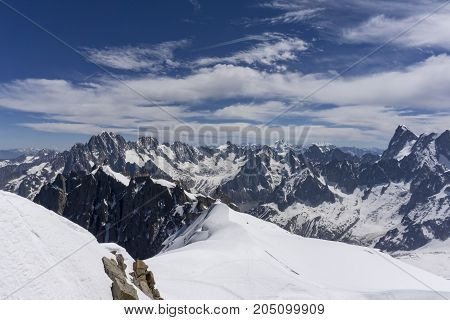 The beautiful landscape of the Alps from the summit of the Aiguille du Midi.