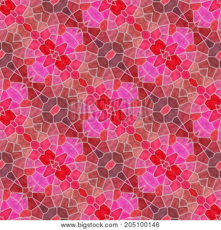 mosaic kaleidoscope seamless pattern texture background - pink red and purple colored with gray grout