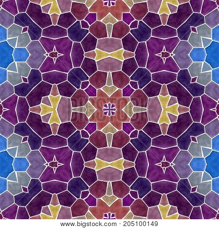 mosaic kaleidoscope seamless pattern texture background - purple and blue colored with white grout