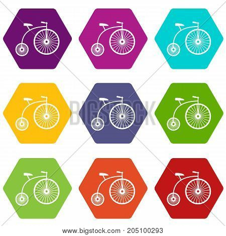 Penny-farthing icon set many color hexahedron isolated on white vector illustration