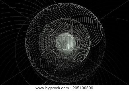 Monochrome rotating abstract fractal on black background. Virtual Reality. Sacred geometry