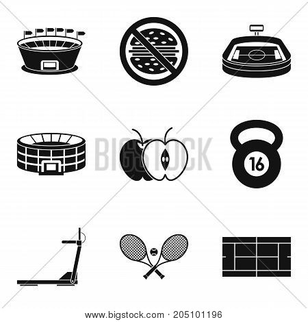 Proper nutrition for sport icons set. Simple set of 9 proper nutrition for sport vector icons for web isolated on white background
