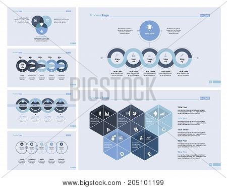 Infographic design set can be used for workflow layout, diagram, annual report, presentation, web design. Business and strategy concept with process, Venn and percentage charts.