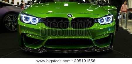 Sankt-Petersburg Russia July 21 2017: Front view of a BMW M4 sports car. M Performance Edition. Car exterior details. Photo Taken at Royal Auto Show July 21
