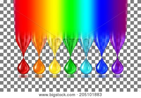 The rainbow turns into translucent drops of paint of iridescent color and shadows on a transparent background. Realistic vector illustration.