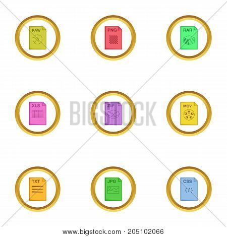 File format icons set. Cartoon style set of 9 file format vector icons for web design