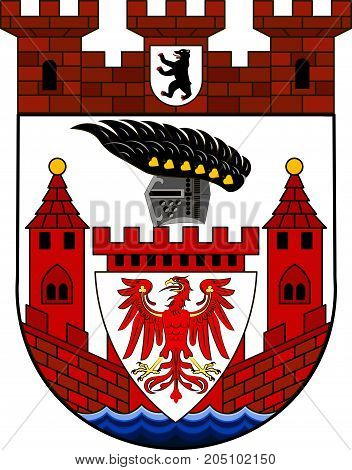 Coat of arms of Spandau is the fifth of the twelve boroughs of Berlin Germany. Vector illustration from the