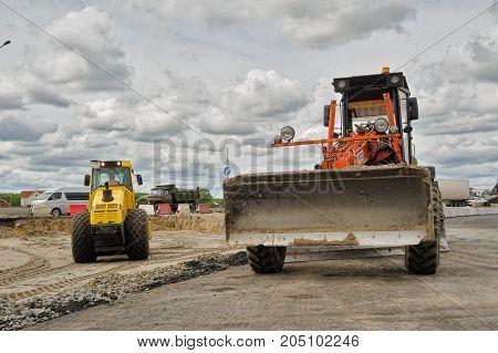 Bulldozer Works On Road Construction In Tyumen