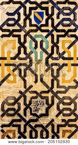 The picture of ornament on the wall, Arabian ancient architecture.