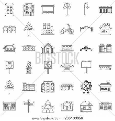 District icons set. Outline style of 36 district vector icons for web isolated on white background