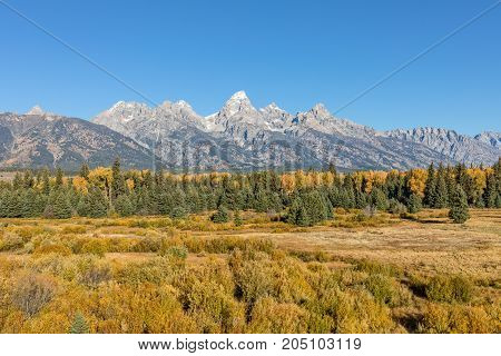 a scenic fall landscape of the Teton Range in Wyoming