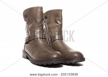 Female winter leather shoes on a white background isolated studio