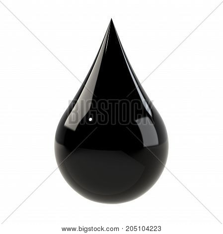 Black drop isolated on white. Oil drop or black ink concept. Graphic design element for poster, flyer, print manual, printer ink packaging. 3D illustration