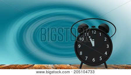 3D Rendering Of Alarm Clock With Little Minutes To Twelve O'clock