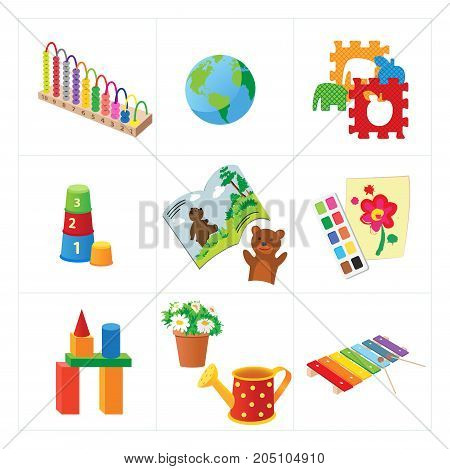 Nursery school or kindergarten educational toys. Xylophone and puzzle, pyramid and paints, blocks and watering pot, book and .