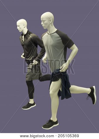 Two running male mannequins isolated. No brand names or copyright objects.