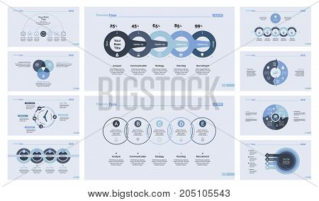 Infographic design set can be used for workflow layout, diagram, annual report, presentation, web design. Business and management concept with process, Venn, timing and percentage charts.
