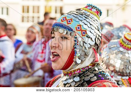 Samara Russia - September 17 2017: Unidentified woman in the Chuvash national headdress during the folklor festival