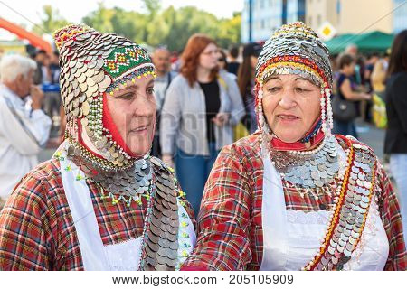 Samara Russia - September 17 2017: Two unidentified womans in the Chuvash national headdress during the folklor festival