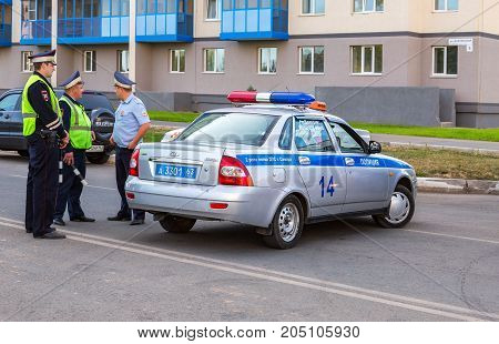 Samara Russia - September 17 2017: Russian police patrol cars of the State Automobile Inspectorate on the city street in summer day