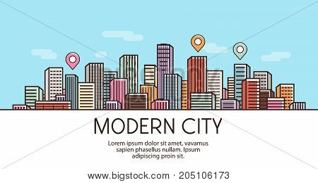 Modern city, banner. Cityscape, urban landscape town concept Vector