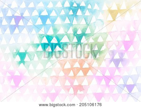 Watercolor background. Hand painted aquarelle ombre triangles pattern. Creative artistic wallpaper. Graphic design element for web, business card, corporate identity, scrapbook, flyer poster backdrop