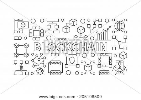 Modern technology banner made with block chain line icons and word BLOCKCHAIN inside