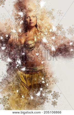Beautiful blonde belly dancer woman. Digital art.