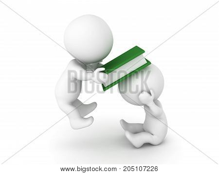 3D Character smacking another one with a book. Isolated on white.