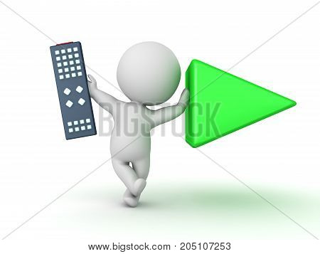 3D Character holding remote control and leaning on play button. Isolated on white.