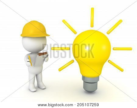 3D illustration depicting the concept of construction research. Isolated on white.