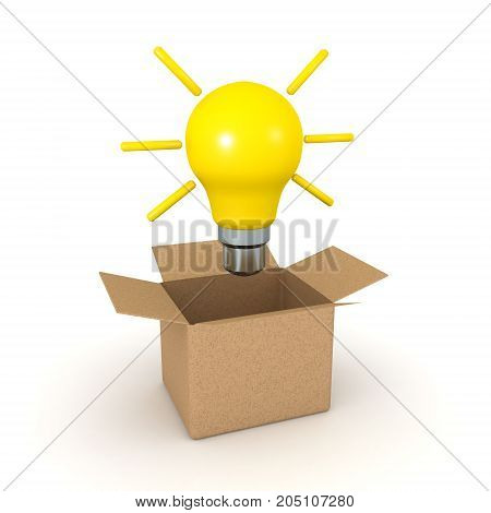 3D illustration of a light bulb emerging from a cardboard box. Isolated on white.