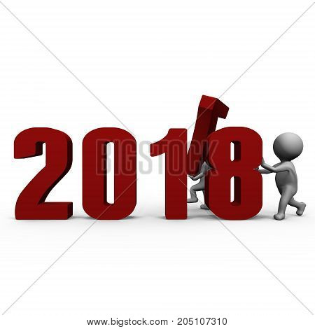 Replacing numbers to form new year 2018 - a 3d image