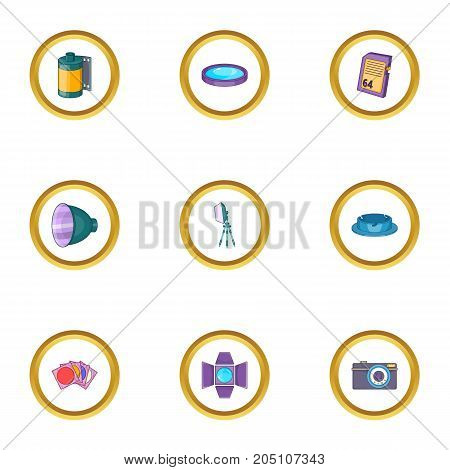 Photography icons set. Cartoon style set of 9 photography vector icons for web design