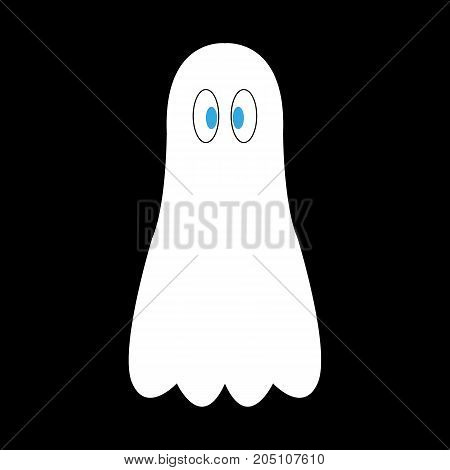 cartoon ghost on a black background vector illustration