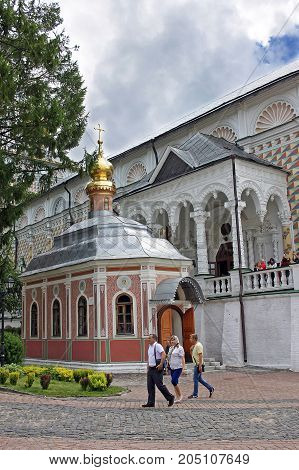 Sergiyev Posad Russia - 15 July 2017: Mikheevskaya Church in Trinity Lavra of St. Sergius.