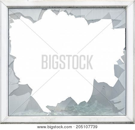 Isolated Smashed Glass In A Window Frame With White Background