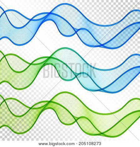 Set of Blue and Green Transparent Wave Lines on White Background. Kit of Abstract Decorative Elements for Universal Application.
