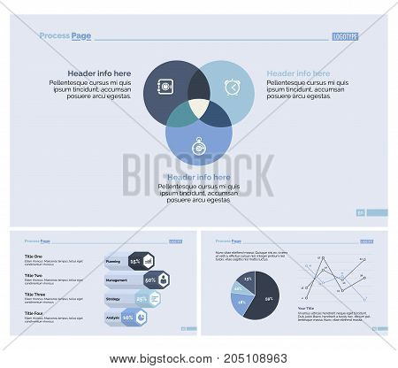 Infographic design set can be used for workflow layout, diagram, annual report, presentation, web design. Business and economics concept with process, Venn, line, bar and pie charts.