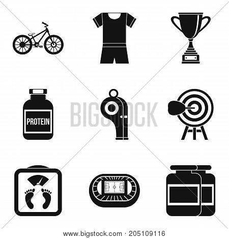 Training boxing icons set. Simple set of 9 training boxing vector icons for web isolated on white background
