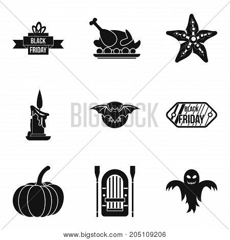 Autumn entertainment icons set. Simple set of 9 autumn entertainment vector icons for web isolated on white background